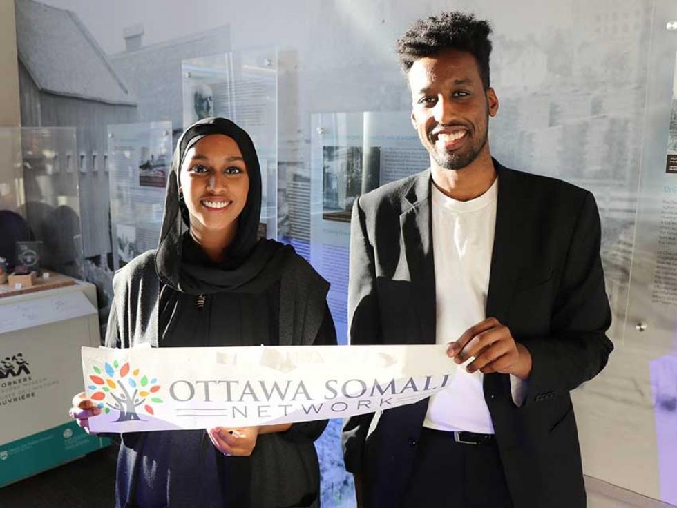 OceanPath Fellowship Alumni Faduma Gure and Abdiasis Yalahow at the launch of the Ottawa Somali Network in 2018.