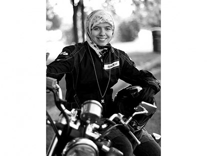 Khadijah Vakily on her motorcycle in Cornwall.