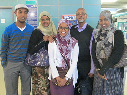 Abdul Arale with his daughters Nasra, Maryama, and Kawthar, and his son-in-law Abdisamad Ibrahim