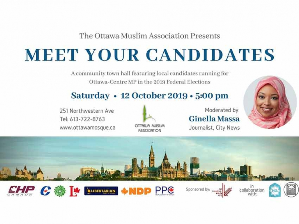 Meet Your Ottawa Centre Federal Election Candidates with Ginella Massa at the Ottawa Muslim Association on October 12