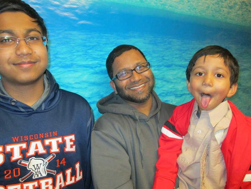 Mohammed Saleem and his sons Omar and Bilal. Bilal felt the photo would be better with his tongue out.