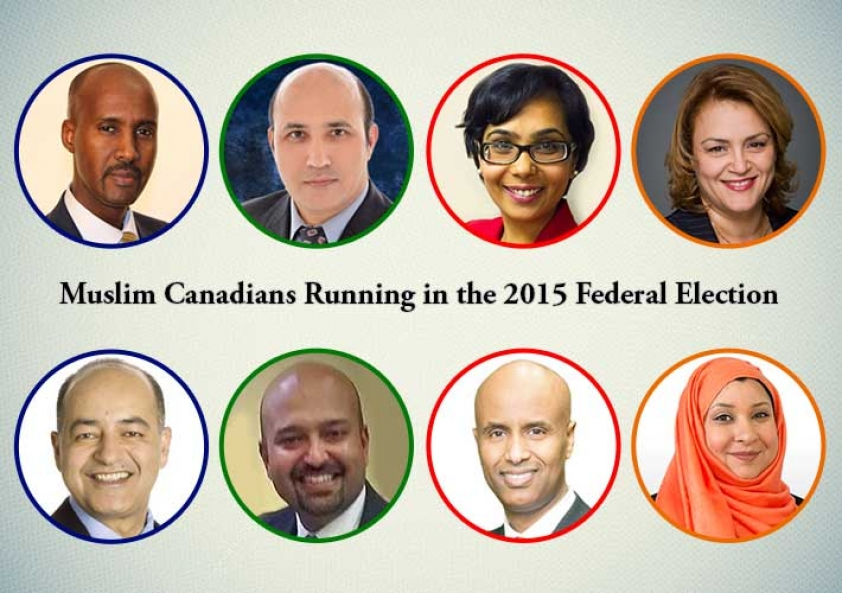 Some of the Muslim Canadians running in the 2015 Federal Election. Clockwise starting from the Top: Ala Burzeba (Calgary Liberal Candidate), Omar Alghabra (GTA Liberal Candidate), Faisal Hassan (GTA NDP Candidate), Farheen Khan (GTA NDP Candidate), Mohammad Zamir (Montreal Conservative Candidate), Abdul Abdi (Ottawa Conservative Candidate)