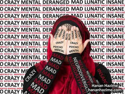 "Hanan Hazime's piece ""Psycho"" is part of the ""Labels"" series where Hanan explores how she is labelled by others because she is a visibly Muslim woman living with a mental illness."