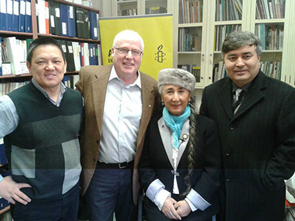 Rebiya Kadeer meeting with Alex Neve of Amnesty International and Kayum Masimov and Mehmet Tohti of the Uyghur Canadian Society in Ottawa, Canada.