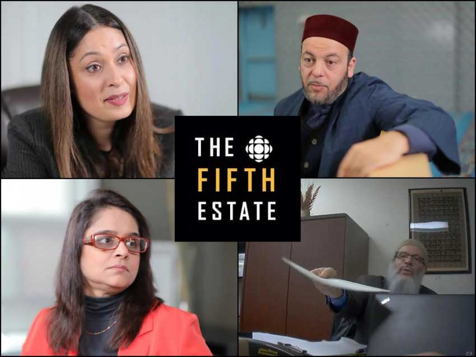 Imam Hamid Slimi, Imam Aly Hindy, Lawyer Sabha Hazai and Zaib, a Toronto resident, are all interviewed as part of CBC's Fifth Estate documentary on polygamy.