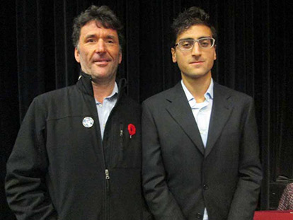 MP Paul Dewar with panel organizer Afnan Khan of the Muslim Coordinating Council