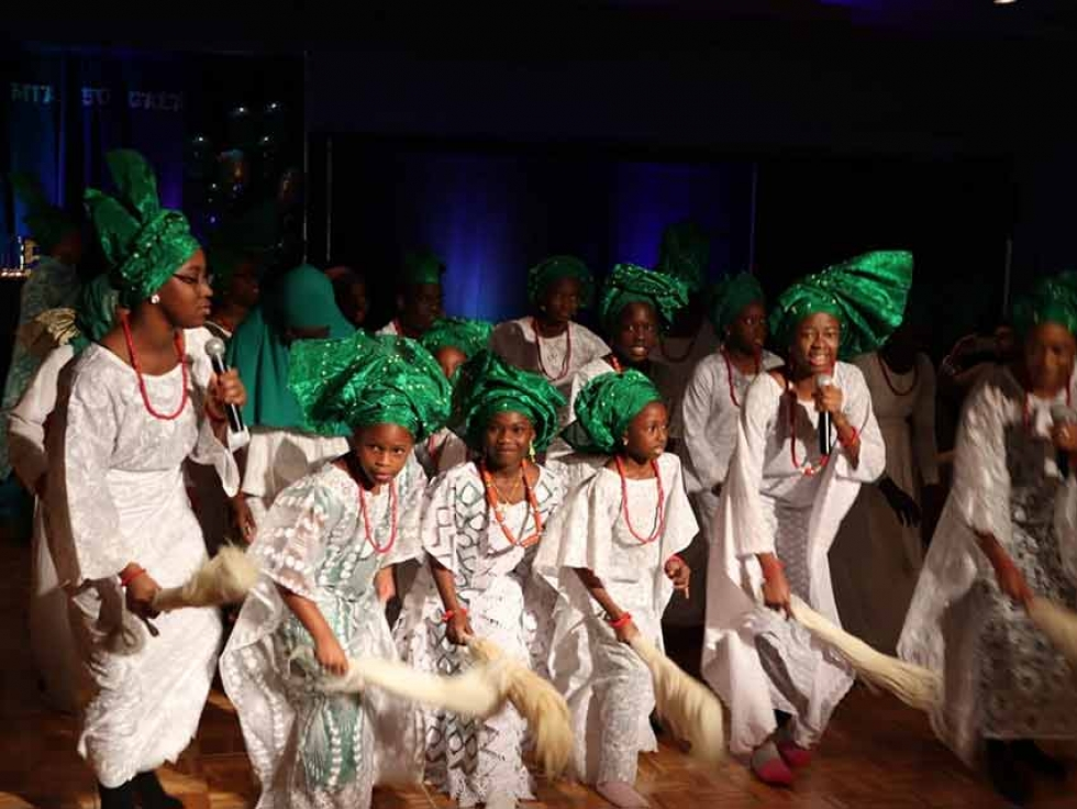A Yoruba girls cultural group sings traditional Yoruba songs at the 50th Anniversary Celebration of the Manitoba Islamic Association.