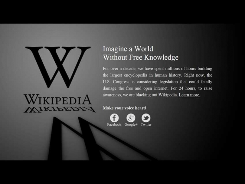 To raise awareness about the potential harms of SOPA and PIPA, Wikipedia joined an internet blackout on Jan. 18.