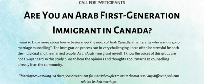 Research on Marriage Counselling for Arab Immigrants Looking for Married First Generation Arab Immigrants to Canada
