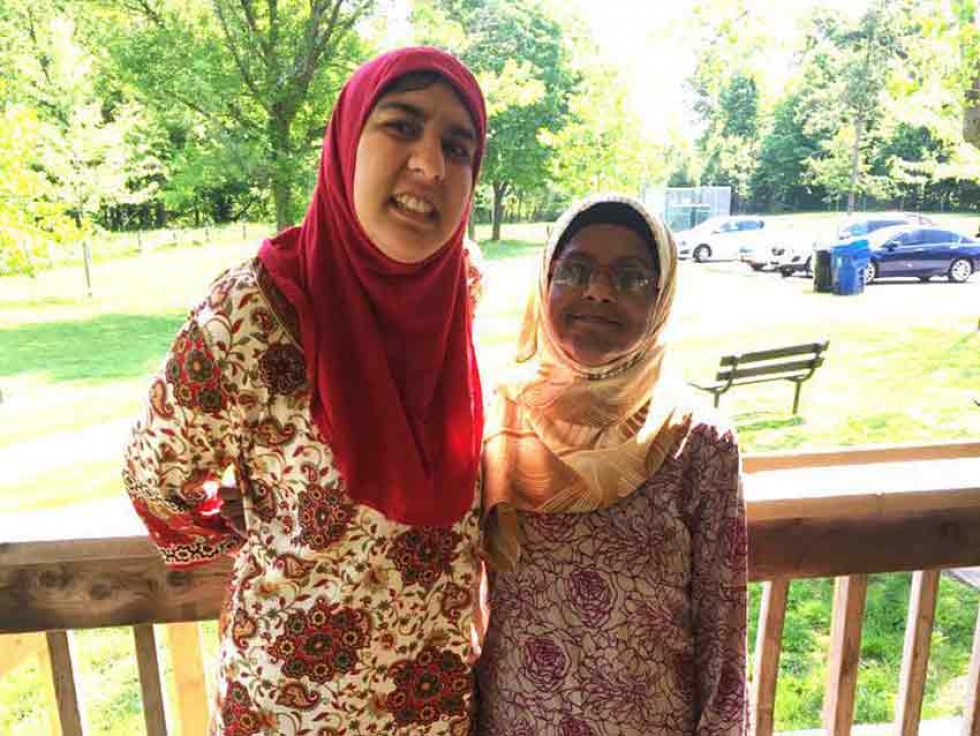 Suraiya (left) on an outing with Shameena. Prior to the COVID-19 crisis, Shameena spent time with Suraiya during the week, taking her for walks, Friday prayers, and other recreational activities in the community.