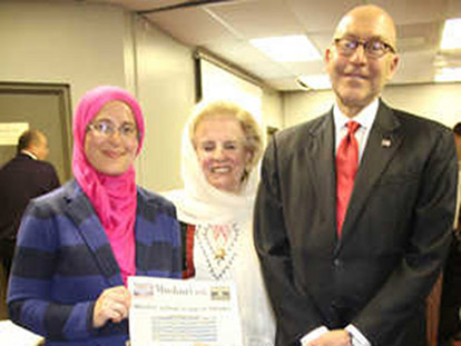 Event organizers Amira Elghawaby (CAIR-CAN) and Shano Bejkosalaj (OMWO) with Ambassador David Jacobson