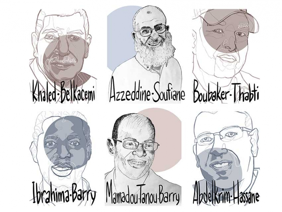 The Council of Canadians partnered with artists Melisse Watson and Syrus Marcus Ware to create these portraits to commemorate the six victims of the attack on a mosque in Quebec City on January 29 2017: Azzeddine Soufiane, Mamadou Tanou Barry, Khaled Belkacemi, Aboubaker Thabti, Ibrahima Barry and Abdelkrim Hassane.