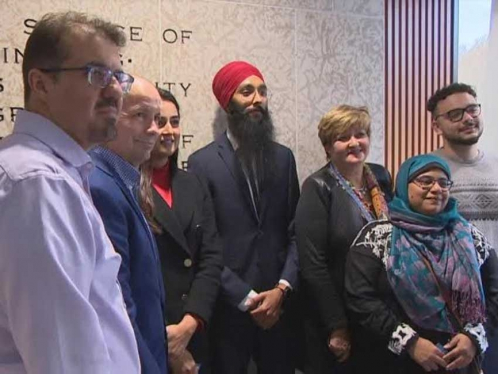 Winnipeg City Councillors Shawn Nason and Janice Lukes, accompanied by members of the Sikh and Muslim community, at Winnipeg City Hall.