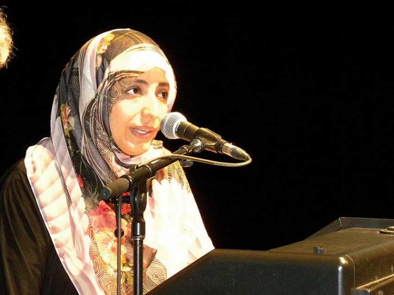 Tawakkol Karman speaking in Ottawa