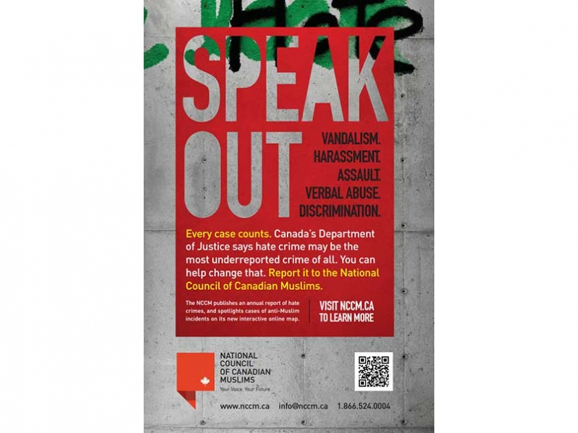Poster from the National Council of Canadians Muslims' campaign to encourage the reporting of hate incidents.
