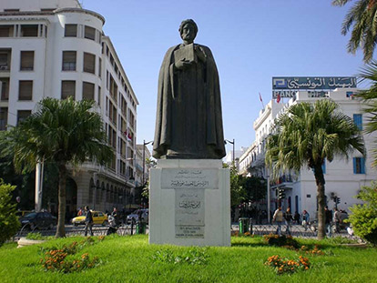 A statue of the 14th century philosopher/scientist Ibn Khaldun in his birthplace, Tunis.