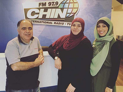 Jerry Absi from CHIN Radio with Serenity Team members Sara Yassin and Berak Hussain