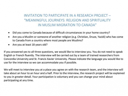 "Invitation to Participate in a Research Project – ""Meaningful Journeys: Religion and Spirituality in Muslim Migration to Canada"""