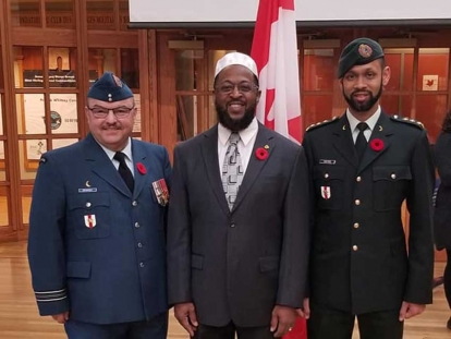 Major (Imam) Suleyman Demiray, Imam Michael Taylor and Captain (Imam) Ryan Carter at the Royal Military College in Kingston, Ontario on November 10, 2019.