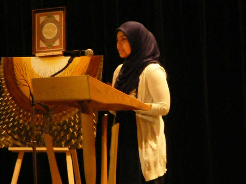 Aruba Mustafa performs at the third annual Expressions of Muslim Women event.