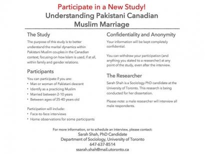 Understanding Pakistani Canadian Muslim Marriage Study