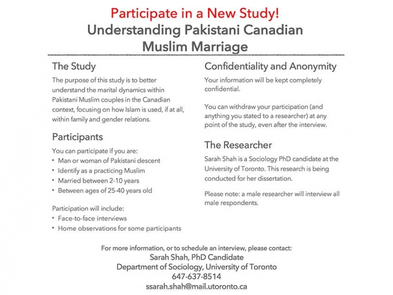 Call for Participants: Understanding Pakistani Canadian Muslim Marriage Study