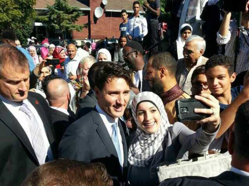 Prime Minister Justin Trudeau outside of the Ottawa Muslim Association after attending the Eid al Adha Prayer Service