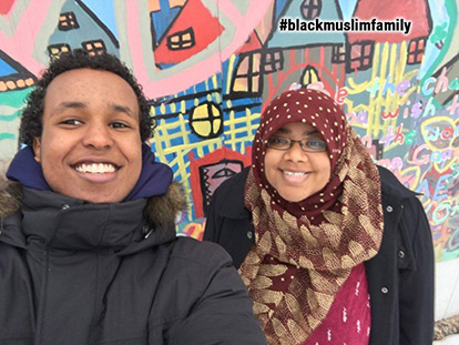 Khalid Egeh and Chelby Daigle take a Selfie as part of the #BlackMuslimFamily Twitter Campaign launched by American Muslim Kameelah Rashad in the wake of the RIS Controversy.