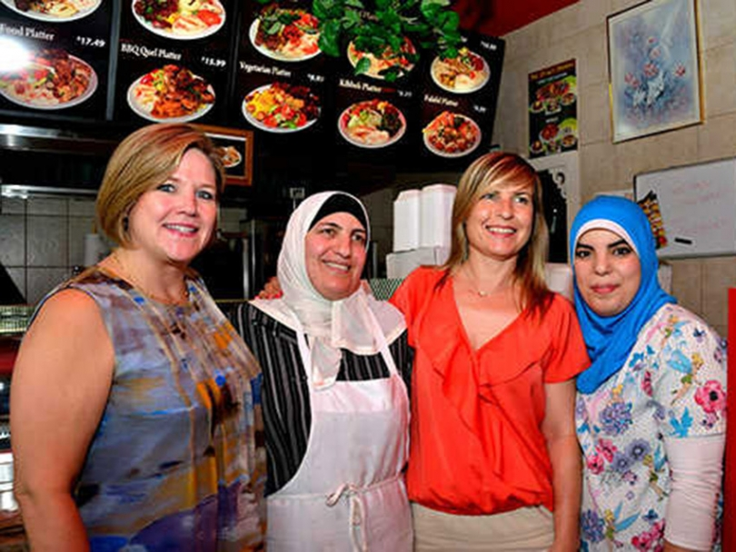 NDP Ontario Leader Andrea Horwath with Bronwyn Funiciello at Ozzy Food Market
