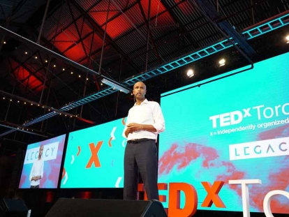 Hon. Ahmed Hussen speaking at TEDxToronto in 2017.