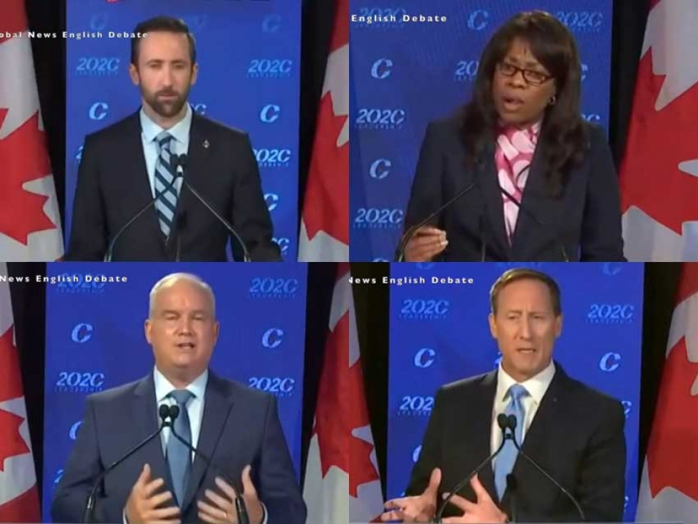 The 2020 leadership contest features four candidates: Leslyn Lewis, Peter MacKay, Erin O'Toole and Derek Sloan.