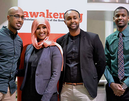 Yunis Habbane, Integration TV Host Hodan Nayaleh, Sharmaarke Abdullahi, and Ahmad Hussein at the Awakening the Spirit of Somali Youth 2015