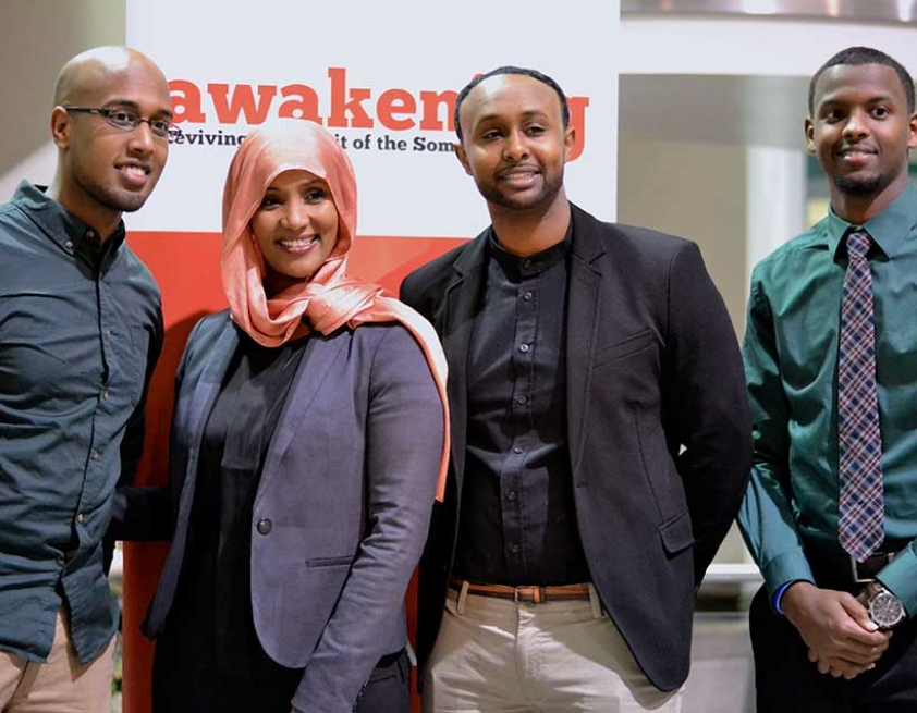 Yunis Habbane, Integration TV Host Hodan Nayaleh, Sharmaarke Abdullahi, and Ahmad Hussein at the Awakening the Spirit of Somali Youth 2015