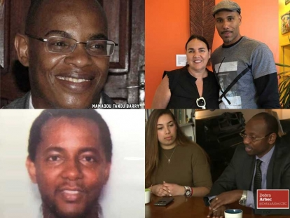 Mamadou Barry (top) and Ibrahima Barry (bottom) were both victims of the Quebec mosque attack. Kim Vincent and Will Prosper in Montreal (Top), Sophia Laababsi and Soulaymane Bah in Quebec City (Bottom) are volunteers crowdfunding to build two wells in Guinea.