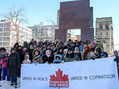 Canadian Muslims gather at the Human Rights Monument in Ottawa to stand for peace and against violent extremism.
