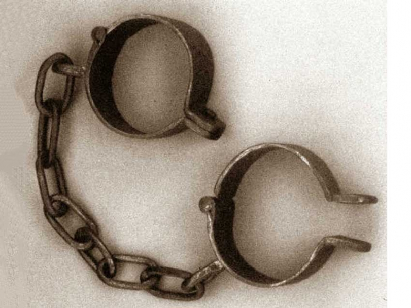 A pair of shackles used on West African slaves.
