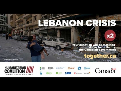 Lebanon Crisis: Donations to the Humanitarian Coalition Received Before August 24 Will Be Matched by The Government of Canada