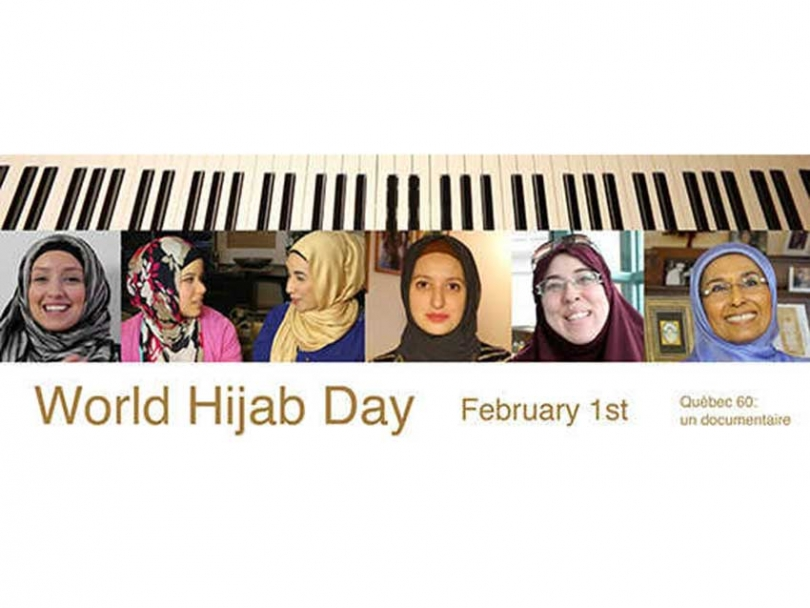 Syrian-Canadian George Karkour's documentary, Quebec 60, explores the experiences of Muslim women who wear hijab in Quebec. In honour of World Hijab Day, he created this banner showcasing some of the women he interviewed.