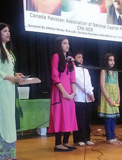 Perveen Khan, Shenal Khan, Emad Rehman, and Aamna Hasan at the Canada-Pakistan Association of the National Capital Region's Jeeway Pakistan Mela on March 23, 2014