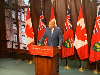 Liberal MPP Michael Coteau speaking on November 7 about his motion to affirm religious freedoms in Ontario in response to Quebec's Bill 21.
