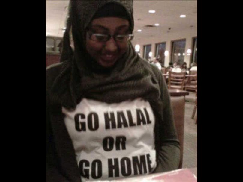 Asha Kayd sporting Go Halal or Go Home Shirt