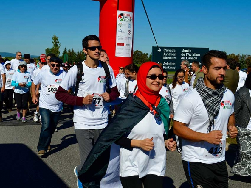 Participants running in the 2015 Ottawa Run for Palestine