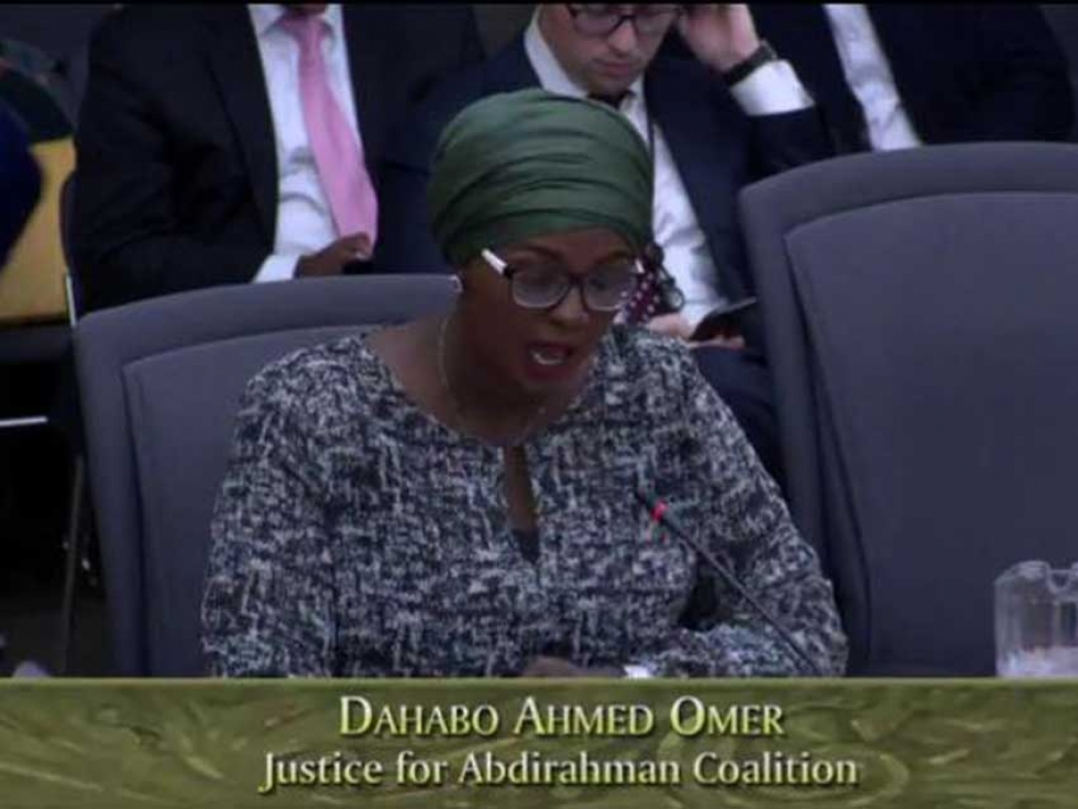 Dahabo Ahmed-Omer makes a statement to the Standing Committee on Justice Policy at the Ontario Legislature on behalf of the Justice for Abdirahman Coalition.