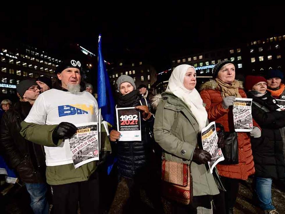 Demonstrators protest the awarding of the 2019 Nobel literature prize to Peter Handke in Stockholm, in December 2019.