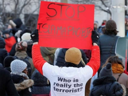 Canadians take part in a protest against the anti-Muslim immigration policies of the Trump administration in the US in Ottawa, Ontario, Canada, January 30, 2017.