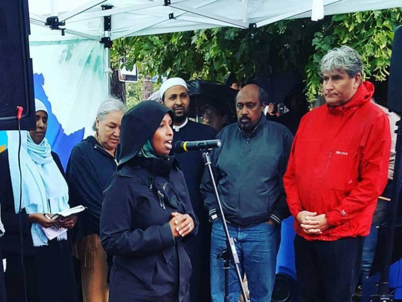 Justice for Abdirahman co-chair Farhia Ahmed speaking on July 24, 2017, the one year anniversary of the death of Abdirahman Abdi