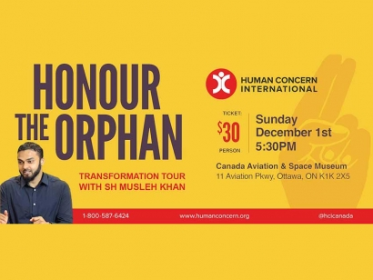 Join Human Concern International and Shaykh Musleh Khan to Raise Funds for Orphans on December 1 in Ottawa