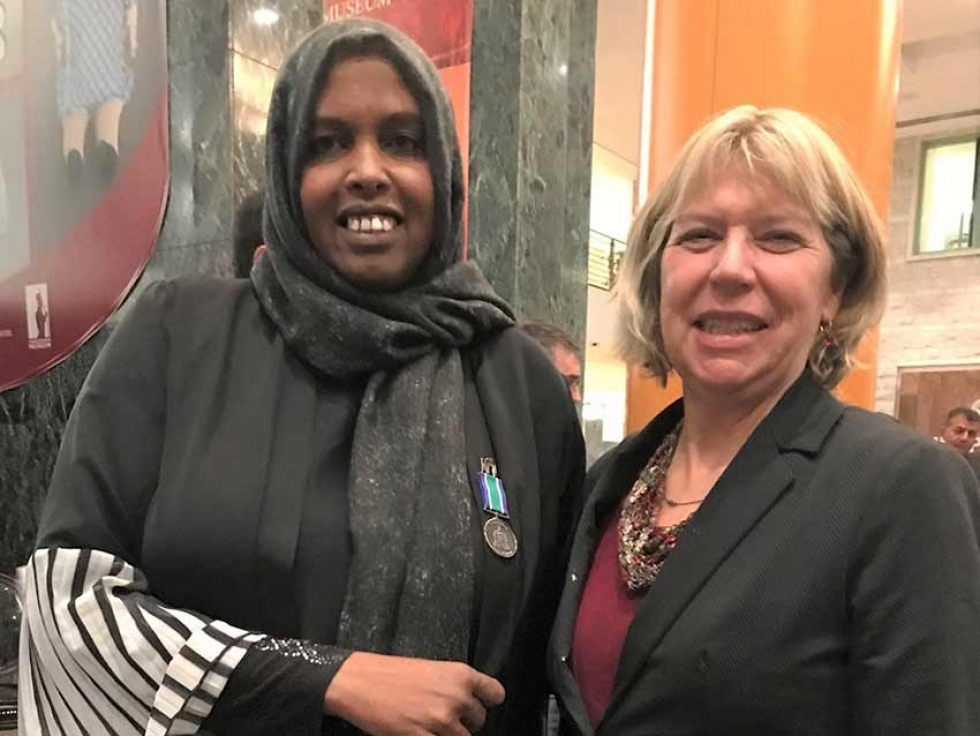 Hindia Mohamoud  is with Theresa Kavanagh, City Councillor Bay Ward at the Order of Ottawa ceremony on November 22, 2019.
