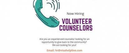 Volunteer Counsellors Needed for NISA Helpline