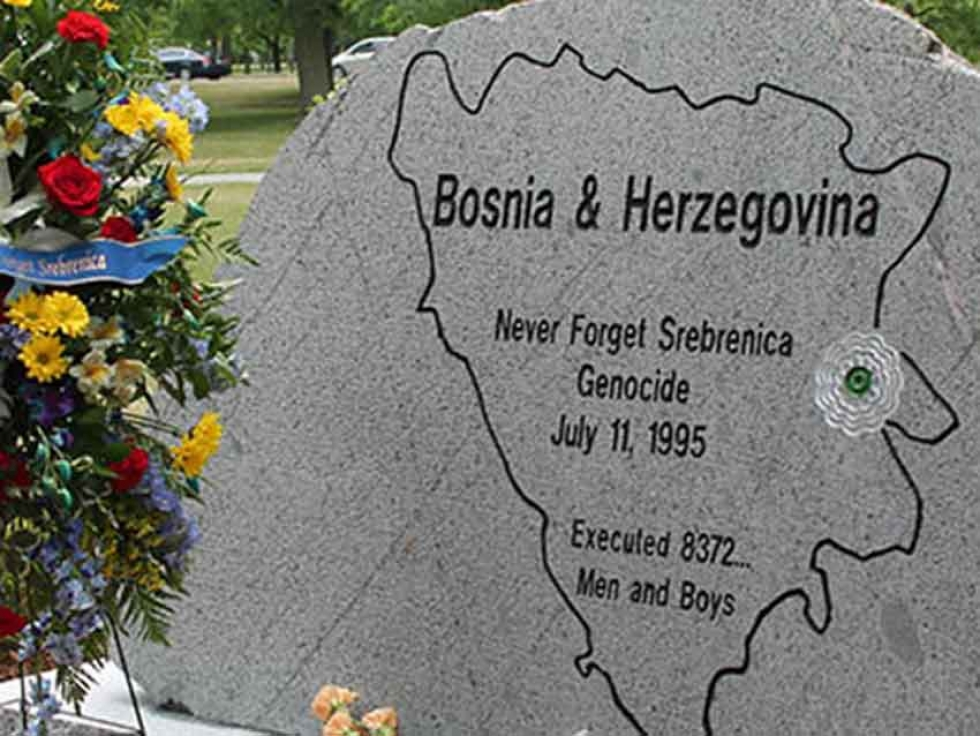 The monument to victims of the Srebrenica genocide in Windsor, Ontario.